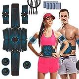 Estimulador Muscular Abdominales, JuYue Electroestimulador Muscular USB Recargable, ABS Abdominales Electroestimulacion para Bdomen/Brazo/Piernas/Glúteos con 14pcs Gel Pads (Negro)