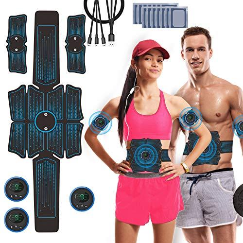 JuYue Estimulador Muscular Abdominales, Electroestimulador Muscular USB Recargable, ABS Abdominales Electroestimulacion para Bdomen/Brazo/Piernas/Glúteos con 14pcs Gel Pads