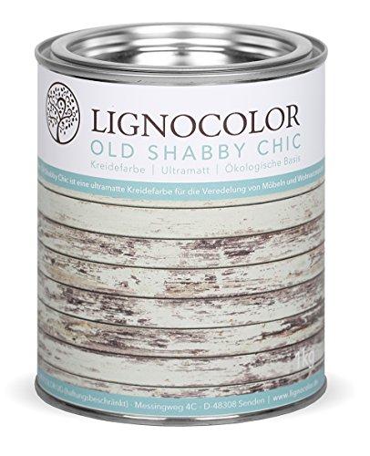 Lignocolor Kreidefarbe Shabby Chic Lack Vintage Look 1kg neue Farbtöne (Storm)