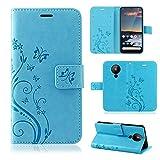 betterfon | Nokia 5.3 Hülle Handy Tasche Handyhülle Etui Wallet Hülle Schutzhülle mit Magnetverschluss/Kartenfächer für Nokia 5.3 Blume Blau