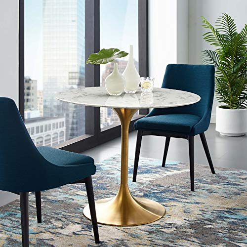 """Modway Lippa 36"""" Mid-Century Dining Table with Round Artificial Marble Top in Gold White"""