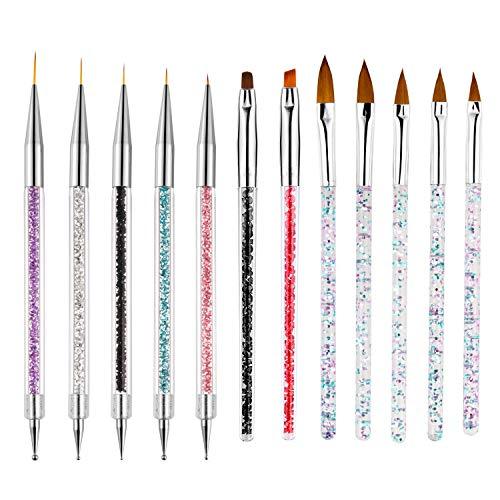 VEGCOO 12Pcs Pinceles para Arte de Uñas, Pincel Acrilico Uñas y Plumas de Uñas, Nail Art Cepillo Pintura Punteado de Gel para Decoración de Uñas (A)