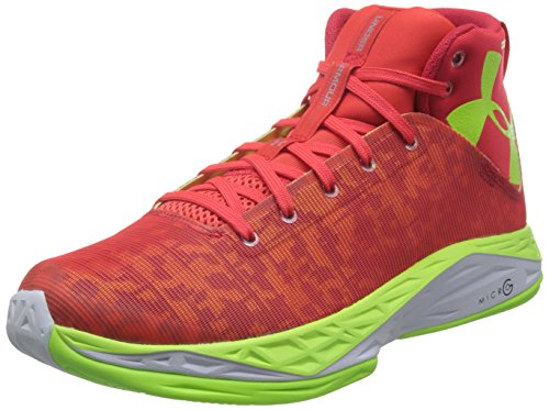 Under Armour Men's UA Fireshot Basketball Shoes White/Rocket RED/Black 14 D(M) US