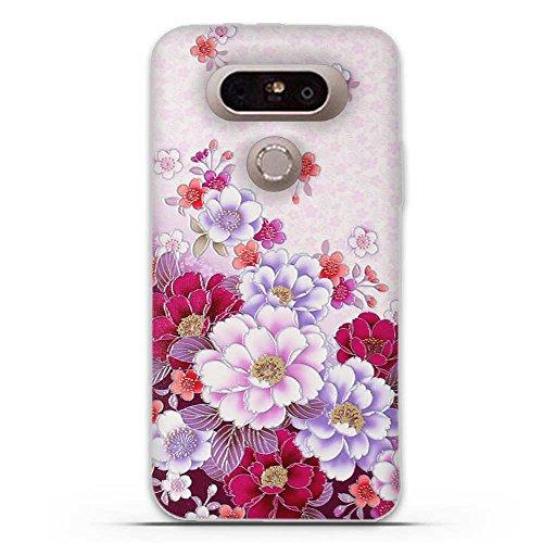 para LG G5-Fubaoda-3D Realzar,clásico de la Flor Patrón,Gel de Silicona TPU,Fina,Flexible,Resistente a los arañazos en su Parte Trasera,Amortigua los Golpes,Protectora Anti-Golpes para para LG G5