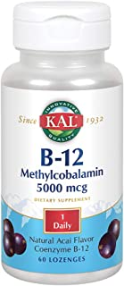 KAL B-12 Methylcobalamin 5000 mcg Lozenges | Natural Acai Flavor | Healthy Metabolism, Energy, Nerve & Red Blood Cell Supp...