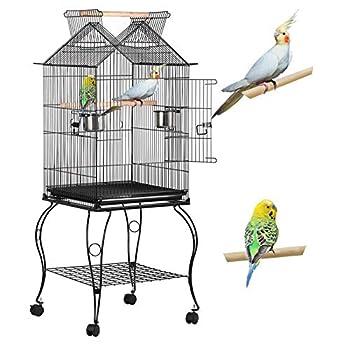 Yaheetech Cage à Oiseaux avec Support 59 x 59 x 145 cm Volière pour Canaries/Perroquet/Perruches/Canaris