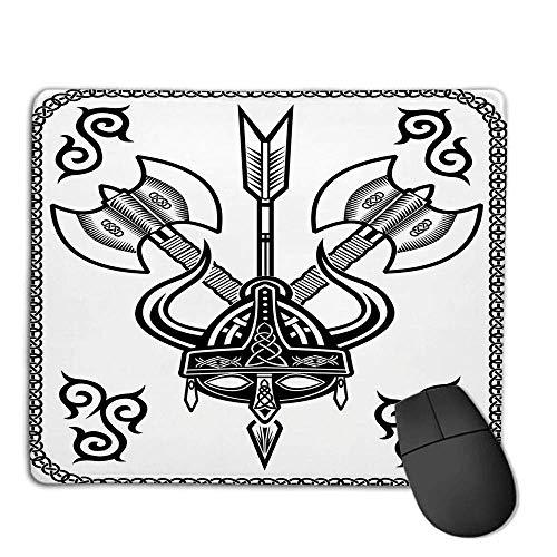 Alfombrilla de ratón Vikingo, Casco con Cuerno Hacha de Flecha Guerra Antigua Estilo Celta Medieval Battle Art Prints, Blanco Negro