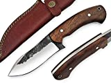 High Carbon Steel Knife - Handmade Full Tang Bushcraft Knife - Hunting Knife, Survival Knife, Fixed Blade Knife & Camping Knife - Camping Knives & Hunting Knives, with Rose Wood Handle & Knife Sheath