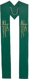 Alpha Omega Wheat Priest/Clergy Overlay Stole (Green)