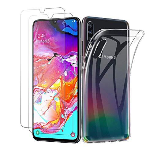 Panzerglas für Samsung Galaxy A70 [1 Hülle + 2 Panzerglas], Transparent TPU Soft Premium Handyhülle für Samsung A70, Anti-Kratzer Schock-Absorption Durchsichtig Schutzhülle für Galaxy A70