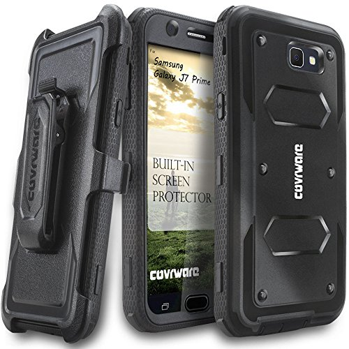 COVRWARE Aegis Series Compatible with Galaxy J7 Prime/J7 Sky Pro/J7 Perx/J7 V 2017/J7 2017 Heavy Duty Full-Body Rugged Holster Armor Case with Built-in Screen Protector, Belt-Clip, Kickstand, Black