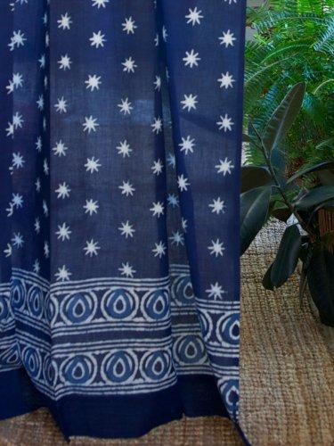 Saffron Marigold Starry Nights (CP) ~ Indian Blue Batik Cotton Curtain Panel 46x84