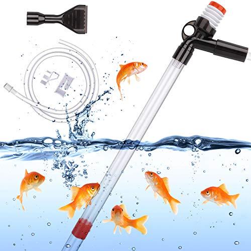 ECOSI Limpiador de Grava para Acuario,Multifuncional Cambiadores de Agua para acuarios Limpiador de peceras para Cambio de Agua Lavado de Arena y Limpiador de Grava con botón de presión de Aire