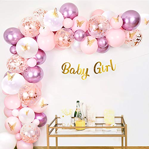 Sweet Baby Co. Girl Butterfly Baby Shower Decorations for Girl Party Decoration with Pink and Purple Mauve, Rose Gold Balloons Arch Garland Kit, Banner for Princess Floral Birthday BabyShower Decor