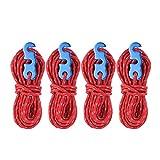 OhhGo 4Pcs / Set Carpa Reflectante Cuerda de Viento Cuerda de Camping Tipo de Línea con Gancho de Hebilla de Anillo en S (Rojo)