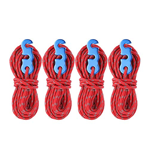 Anti-Slip Reflective Wind Rope, Strong Pulling Force Tent Wind Rope, for Clothesline Material Binding Rope(red)