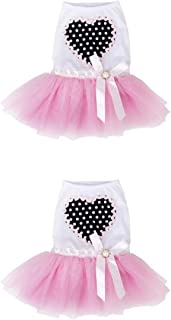 F Fityle 2 Pieces Pets Tulle Layered Skirt, Dog Cute Clothes - Puppy Dog Princess Dresses Pink L + XL