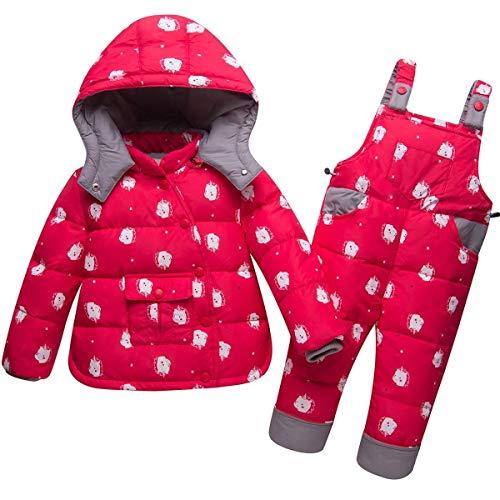 2Tlg Kinder Mädchen Verdickte Kapuze Winterjacke Mit Wesentlich Winterjacke Daunenjacke Mantel Daunenhose Stepphose Skihose Schneehose Bekleidungsset Schneeanzug ( Color : Rot , Einheitsgröße : 98 )