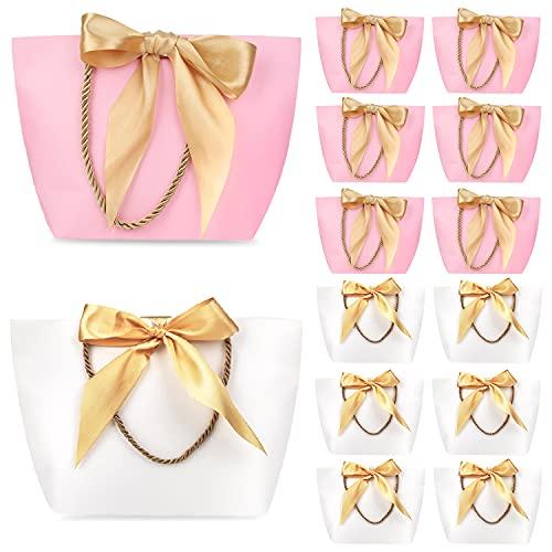 Phogary Bolsas de regalo con asas - 12PCS 11x7.9x3.5 Papel Bolso del favor de fiesta con lazo para Cumpleaños Envoltura de regalo de boda (rosa y blanco, medio)