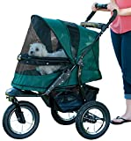 Pet Gear No-Zip Jogger Pet Stroller for Cats/Dogs, Zipperless Entry, Easy One-Hand Fold, Air Tires, Cup Holder + Storage Basket, Forest Green