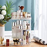 YOKEPO Makeup Organizer 360 Degree Rotating Adjustable Cosmetic Storage Display Case with Large Capacity Adjustable Makeup Case Fits Jewelry, Makeup Brushes, Lipsticks, skincare products Gift for Wife Women, Clear Acrylic