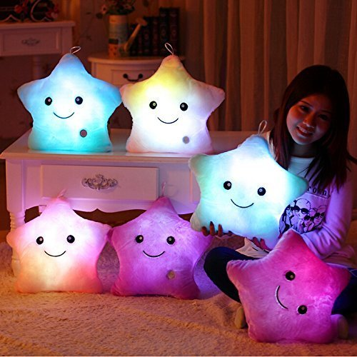 WEWILL Creative Twinkle Star Light up Night LED Plush Pillows Stuffed Toys Birthday Valentines for Toddlers Girls(Blue)