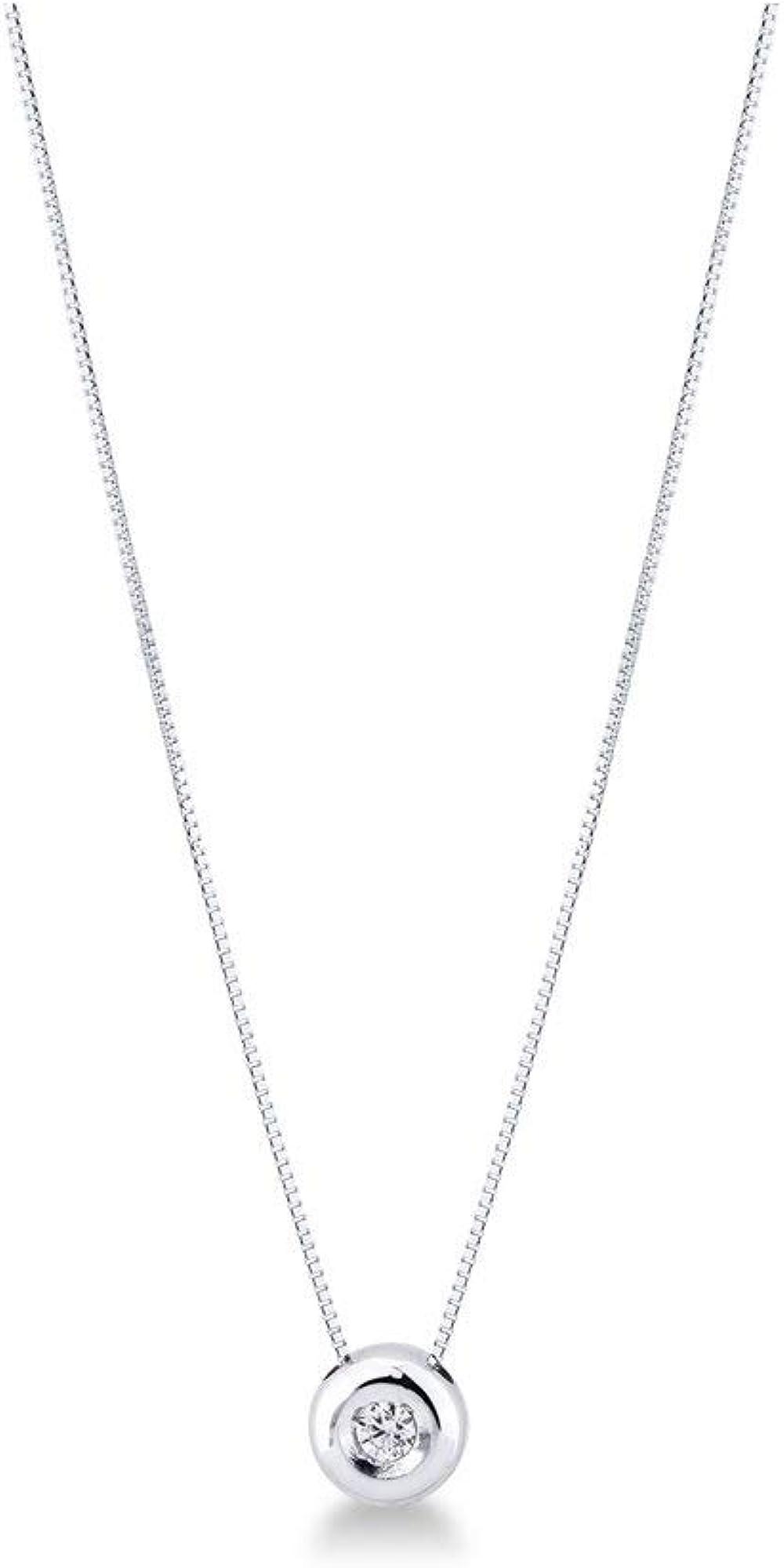Collana punto luce grande in oro bianco 18k con diamante gioielli di valenza 2PROMO
