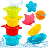 PHYLES Juguetes baño Bebe, Juguetes baño flotantes Coloridos, Juguetes bañera Bebe con 3 Animales Marinos con rociado de Agua, 2 Barcos de baño, 4 Tazas apilables