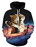 Men's Pullover Cat Hoodies Couple Sweatshirt Wear Drawstring Hat Jackets with Big Pocket Cool Graphic Prints Coat Clothes Galaxy Pattern Sweater for Party Size Medium