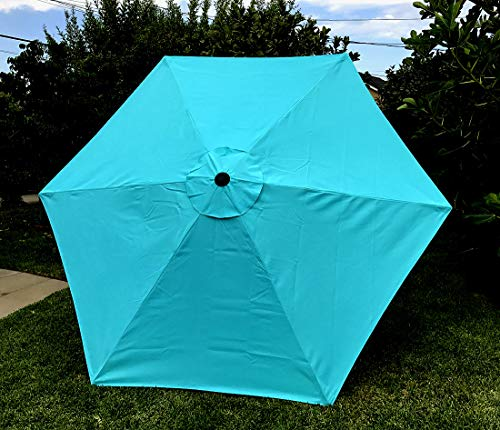 "BELLRINO DECOR 7.5 ft 6 Ribs Replacement"" STRONG & THICK"" Patio Umbrella Canopy Cover (Canopy Only) - PEACOCK BLUE"
