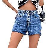 Beudylihy Short en jean pour femme Paperbag - Taille haute - Élastique - Bords pliés - Short court en denim pour femme - - XS
