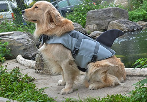 Xiaoyu Hondenreddingsjack, Verstelbare dierenlevenshonden Veiligheid Hond Zwembad Vest, Novice zwemvest voor huisdieren, Waterveiligheid bij het zwembad, strand, varen, grijs, M