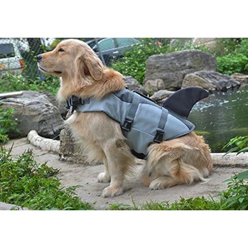 Xiaoyu Giubbotto di Salvataggio per Cani, Giubbotto Regolabile per Cani con salvagente per Animali Domestici, Giubbotto di Salvataggio novizio per Animali Domestici, Grigio, M