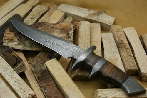 Custom Damast Bowie Messer Jagdmesser Mit Lederscheide - 9