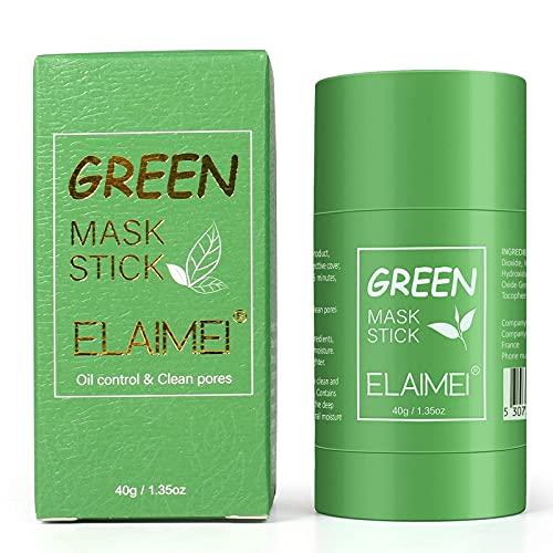 Grüntee Reinigungsmaske Stick, Grüner Tee Purifying Clay Stick Mask ölkontrolle Gesichtsmaske, Tiefenreinigende Poren,Bekämpft Akne und Mitesser, Verbessert die Haut, für Alle Hauttypen Männer Frauen
