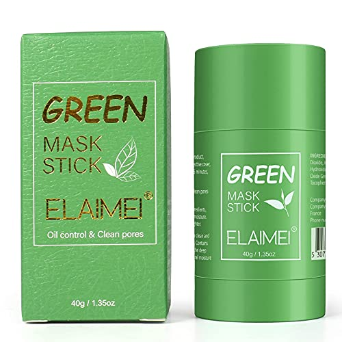 Green Tea Purifying Clay Stick Mask, Deep Cleaning Oil Control Blackhead Removing, Moisturizes and Controls The Oil, Acne Clearing for All Skin Types Women and Men