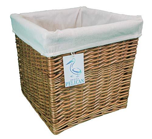 Cestas de mimbre cuadradas. Forro extraíble lavable. Estante decorativo solución de almacenamiento. Tamaño grande y pequeño, esquinas, ropa, juguetes, zapatos. Naturel 16 Litre