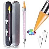Nail Art Rhinestones Picker Wax Pencil Pickup Dual Tips Dotting Pen Beads Pearls Gems Stones Applicator Crystal Manicure Tool Applicator for Beauty Design + 2 Extra Wax Tip Replacements