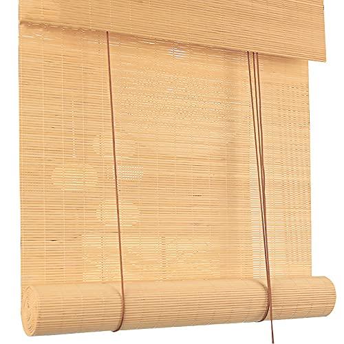 KJHGMNB Estor bambú Ventanas, Estor Enrollable de bambú Natural, Cortina Bambu, Persianas enrollables de elevación, Respirable, Anti-UV, para Oficina, Cocina, Personalizable,110x120cm/44x48in