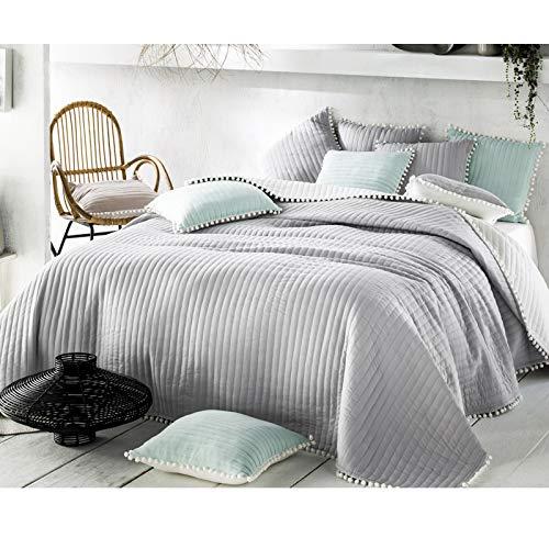 JEMIDI Tagesdecke Bett und Sofaüberwurf Bommel 220cm x 200cmvon Bettüberwurf Sofa Tages Decken Betthusse XXL Decke Grau