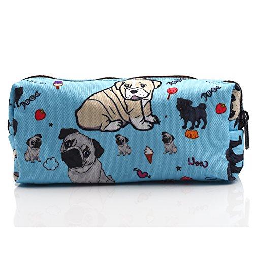 Cute Pug Dog Pencil Case Students Canvas Pen Bag Pouch Stationary Case Makeup Cosmetic Bag (Blue)