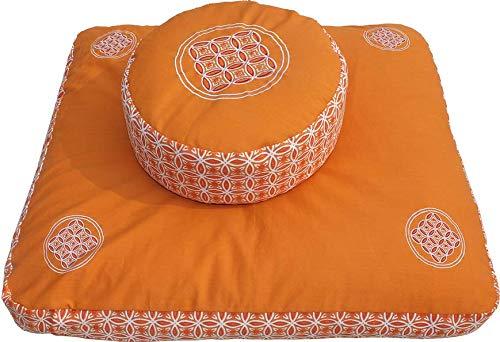 Meditationskissen Zafu und Meditationsmatte ZABUTON Extra Thick, Meditationszubehör, Meditationsset, Meditationsmatte zabuton 80 x 80x7cm (Orange)