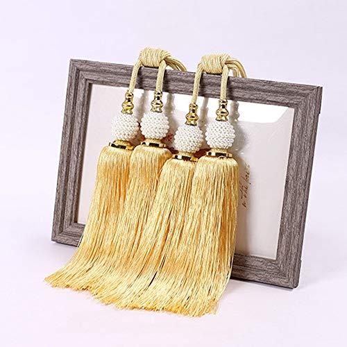 Willkey 1 Paar Quasten-Vorhang-Raffhalter, dekorativer Vorhang-Seil mit Doppelperlen und Kugel-Dekor, antiker Quasten-Rückhalter, Wohnzimmer Schlafzimmer Dekoration gold