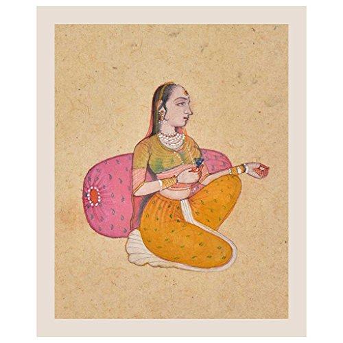 Étagère Indienne Faite à la Main en Papier Mughal Princesse Denied Love Interbidden from Marrying Painting/Mughal Art PT-240