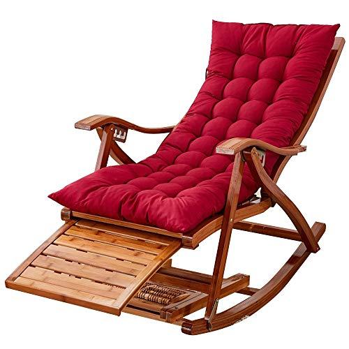 Bseack Sillón Sencillo, sillón Plegable reclinable Silla de Siesta de bambú para Hombre Viejo con...