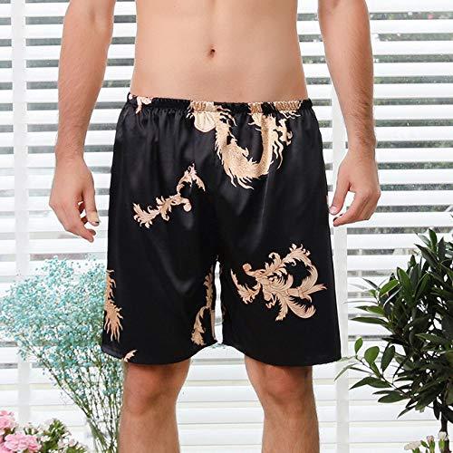 JFCDB Nachthemd Paar zijde satijn pyjama pyjama set lange mouw nachtkledingpyjama pak dames en heren slaap 2pc set loungewear plus size, zwarte korte broek, xxl