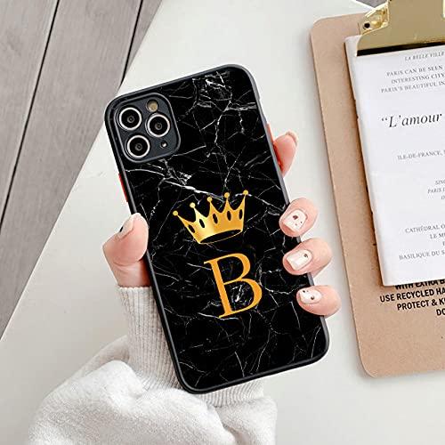 LIUYAWEI Funda de teléfono de mármol con Iniciales Simples para iPhone 11 12 Pro MAX 7 8 Plus XS MAX X XR SE 2020 12 Mini, T2, para iPhone 12pro