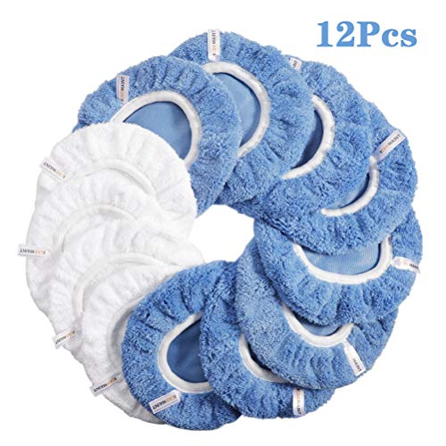 ICARMAINT 9 to 10 Inches Car Polishing Pads 12Pcs Waxers Bonnet Set, Wax Applicator Buffing Pads, Soft Polishing Bonnet Polisher Cover, 4Cotton+8Coral Fleece