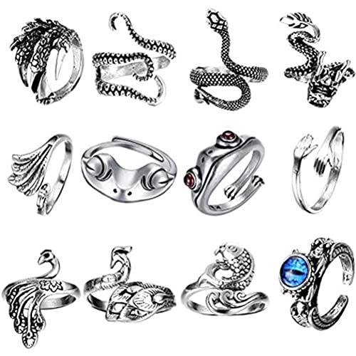 KUANPEY - Set di 12 anelli vintage punk, con simpatici animali aperti, placcati in argento, stile gotico per donne e uomini, per coppie
