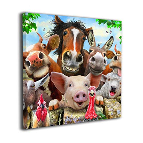 SRuhqu Canvas Wall Art Prints 20 x20  Farm Animals Selfie-Photo Paintings Contemporary Home Decoration Giclee Artwork-Wood Frame Gallery Wrapped